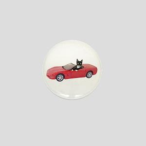 Cat in Red Car Mini Button