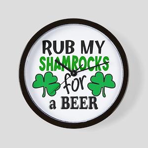 Rub My Shamrocks For a Beer Wall Clock
