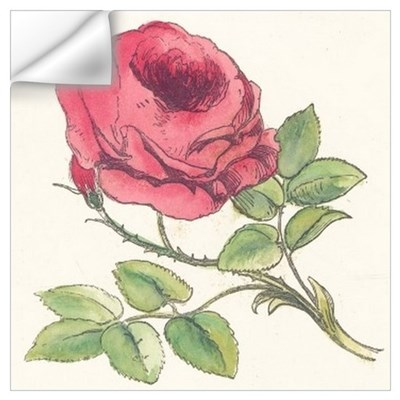 Vintage Rose Drawing Wall Art Wall Decal
