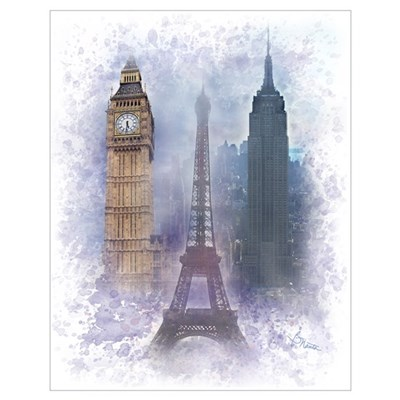 Eiffel Tower, Empire State and Big Ben Wall Art Poster