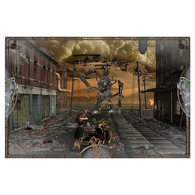SteamPunk Fighter Wall Art Poster