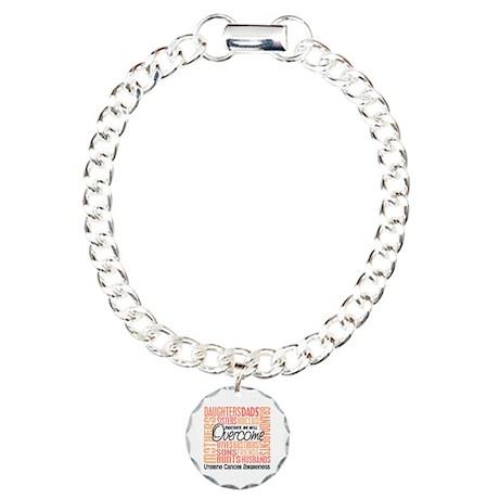 Family Square Uterine Cancer Charm Bracelet, One C