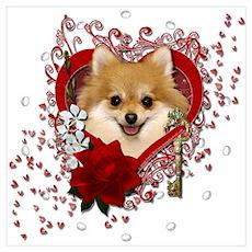 Valentines - Key to My Heart Pomeranian Wall Art Poster