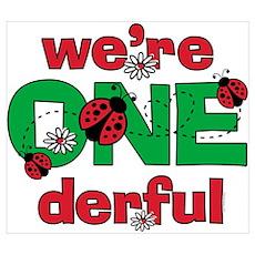 ONEderful Ladybug Twins Birthday Wall Art Poster