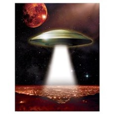 UFO over city Wall Art Poster