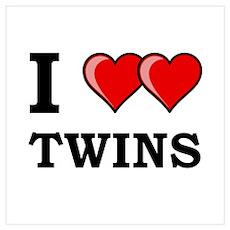 I Heart Twins Wall Art Poster