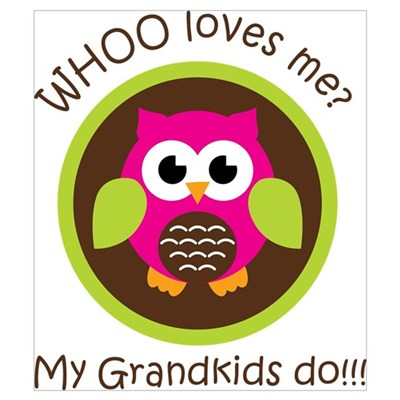 Grandkids Owl Wall Art Framed Print