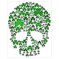 Shamrock Skulls Wall Art Poster