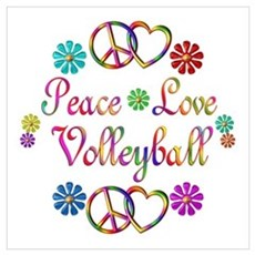Peace Love Volleyball Wall Art Poster