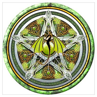 Celtic Earth Dragon Pentacle Wall Art Poster