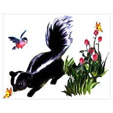 Cute Baby Skunk Wall Art Poster