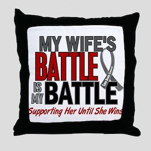 My Battle Too Brain Cancer Throw Pillow
