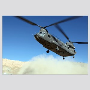A CH-47 Chinook prepares to land