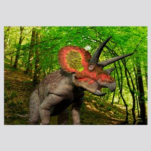 A colorful Triceratops wanders a Cretaceous forest