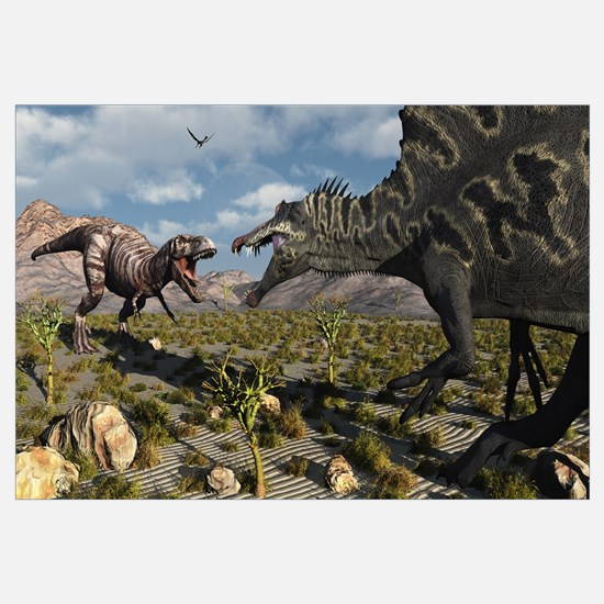 A confrontation between a T. Rex and a Spinosaurus