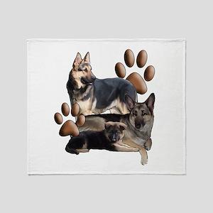german shepherd family Throw Blanket