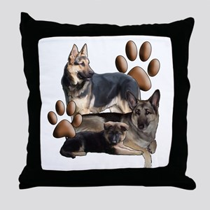 german shepherd family Throw Pillow