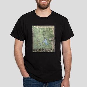 Yellowstone Topo Map Dark T-Shirt