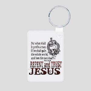 Repent and Trust Jesus Aluminum Photo Keychain