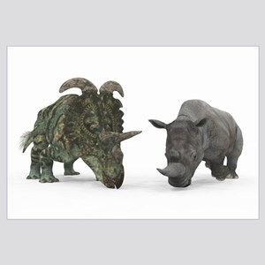 An adult Albertaceratops compared to a modern adul