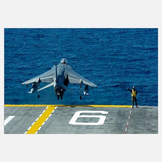 An AV-8B Harrier II launches from USS Bonhomme Ric
