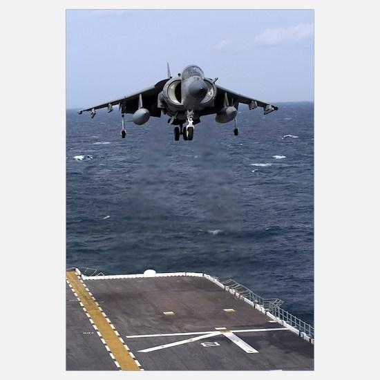 An AV-8B Harrier II prepares to land on the flight