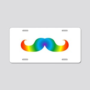 LGBTQ pride rainbow mustach Aluminum License Plate