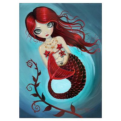 Ruby Mermaid Wall Art Poster
