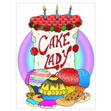 Cake Lady Baked Goods Wall Art Poster