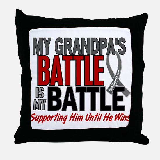 My Battle Too Brain Cancer Throw Pillow