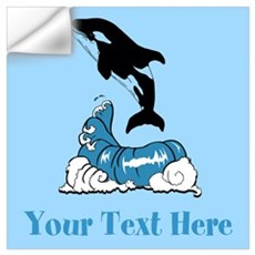 Jumping Whale and Text. Wall Art Wall Decal