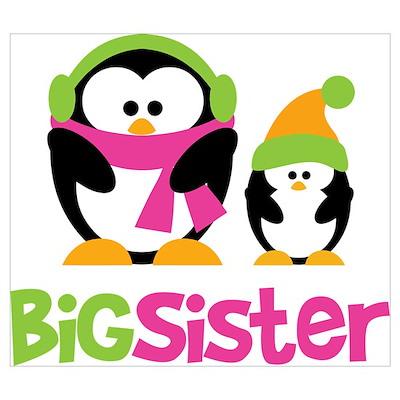 2 Penguins Big Sister Wall Art Poster