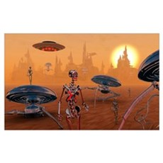 Artist's concept of life on Mars long ago Poster
