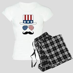 USA Hat Glasses Mustache Pajamas
