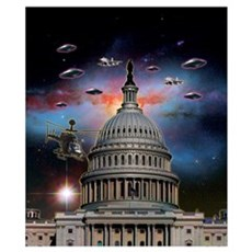 UFOs Over Wash. DC Wall Art Poster