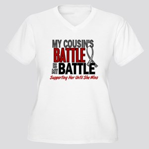 My Battle Too Brain Cancer Women's Plus Size V-Nec