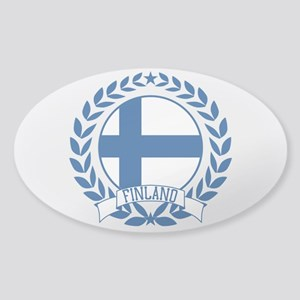 Finland Wreath Sticker (Oval)