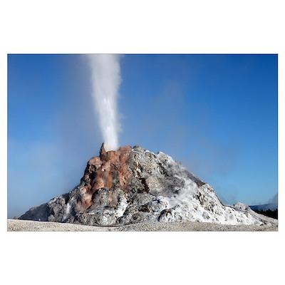 White Dome Geyser erupting, Upper Geyser Basin geo Poster