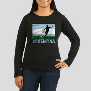 Argentina Soccer Women's Long Sleeve Dark T-Shirt