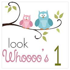 Custom Owl Birthday Wall Art Poster