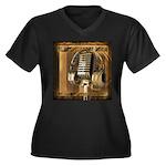 BMV Radio 1 Women's Plus Size V-Neck Dark T-Shirt