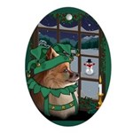 Christmas Pomeranian Ornaments Oval Ornament