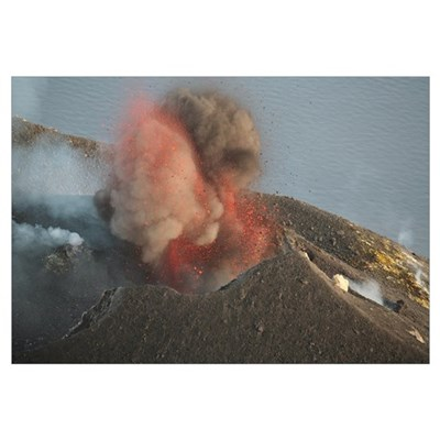 Strombolian eruption of Stromboli volcano producin Framed Print