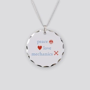 Peace, Love and Mechanics Necklace Circle Charm