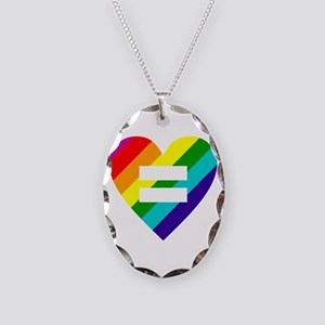 Rainbow love equals love Necklace Oval Charm