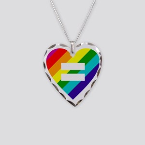 Rainbow love equals love Necklace Heart Charm