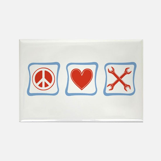 Peace, Love and Mechanics Rectangle Magnet