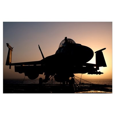 Silhouette of a US Navy F/A-18E Super Hornet on th Poster