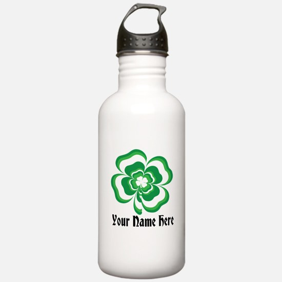 Customizable Stacked Shamrock Water Bottle