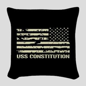 USS Constitution Woven Throw Pillow